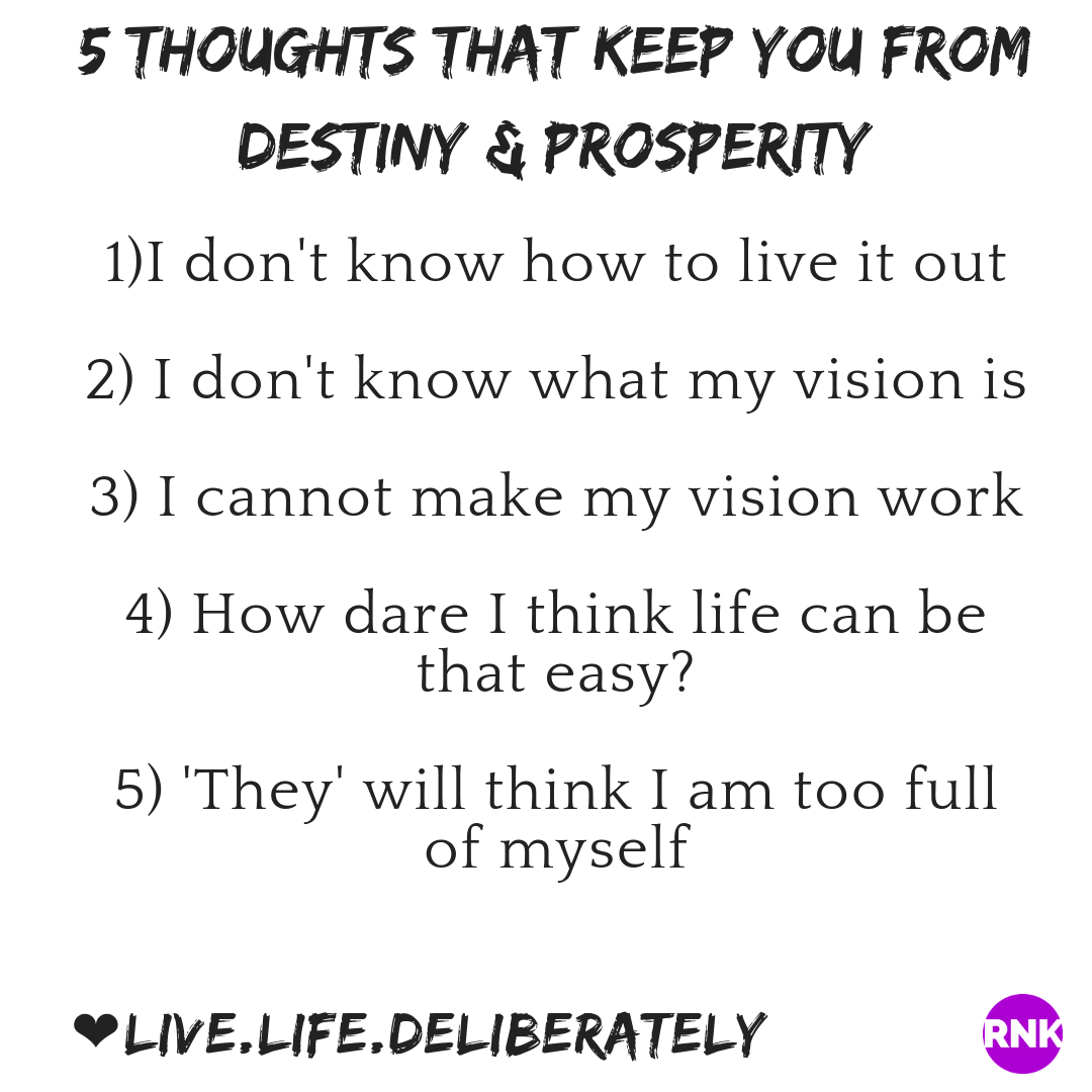 5 Thoughts That Keep You From Your Destiny & Prosperity