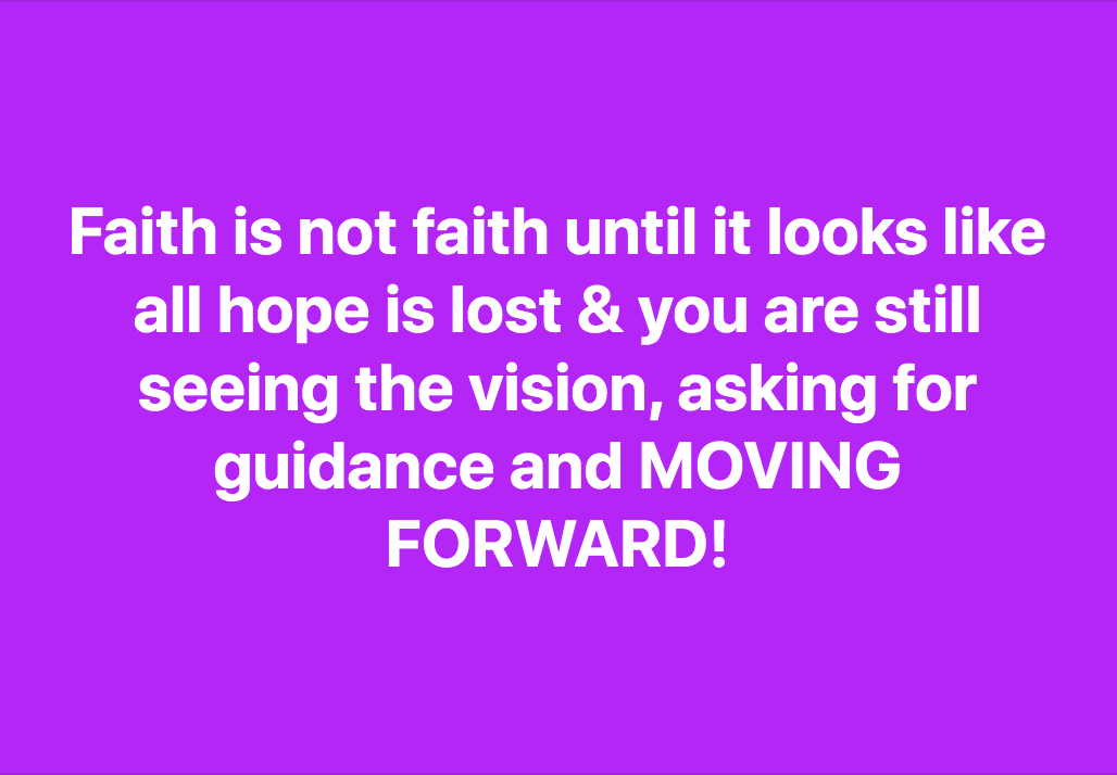 Holding The Faith For Your Vision demands courage